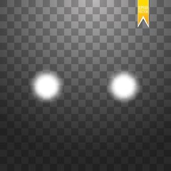 Realistische witte gloed van ronde stralen van autokoplampen