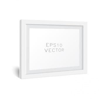 Realistische witte houten fotolijst met zachte schaduw. wit vierkant fotolijstmodel,.