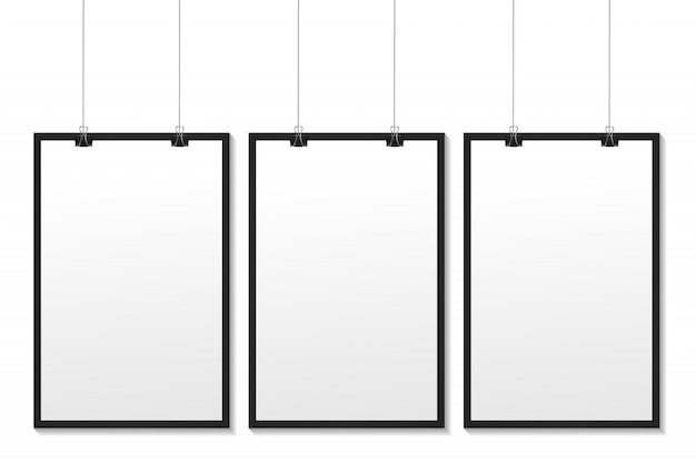 Realistische witte kaders op de witte achtergrond voor decoratie en huisstijl.