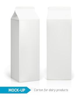 Realistische witte kartonnen verpakking voor zuivelproducten, sap of melk. pakketjes
