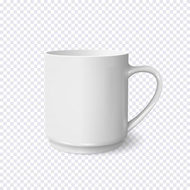 Realistische witte koffiekopje geïsoleerd op transparant