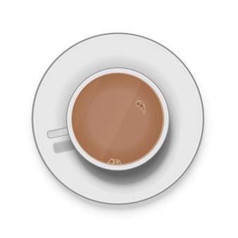 Realistische witte kopje koffie met melk op schotel
