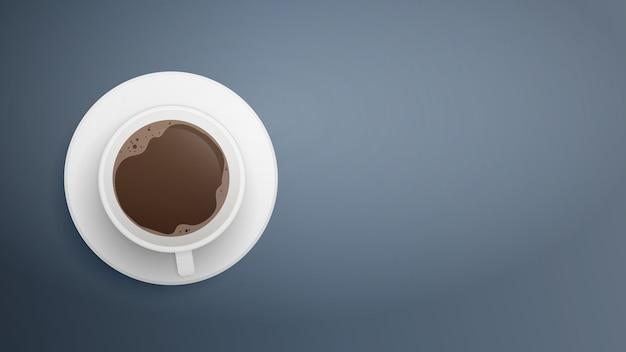 Realistische witte kopje koffie op grijs