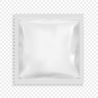 Realistische witte lege sjabloon verpakkingsfolie vochtige doekjes.