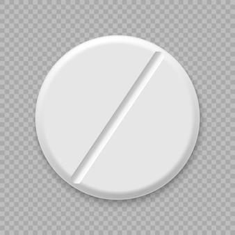Realistische witte medische pil