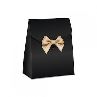 Realistische witte model zwarte kartonnen geschenkdoos. leeg productcontainermalplaatje, illustratie