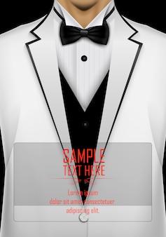 Realistische witte pak en smoking met zwarte vlinderdas sjabloon