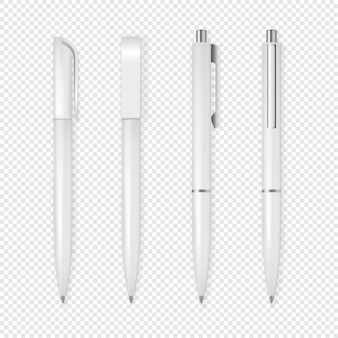Realistische witte pen icon set.