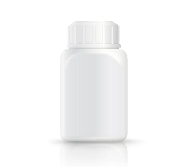 Realistische witte plastic vierkante fles die op witte achtergrond wordt geïsoleerd Premium Vector
