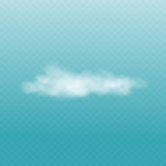 Realistische witte pluizige wolk geïsoleerd op transparante blauwe hemelachtergrond