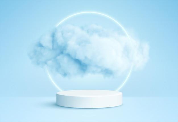 Realistische witte pluizige wolken in productpodium met neoncirkel op blauw