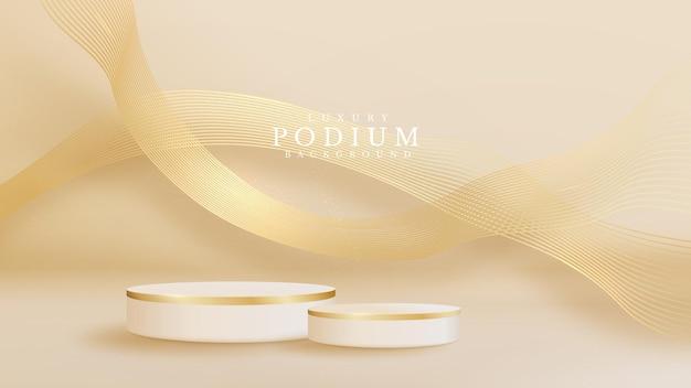 Realistische witte productpodiumshowcase met lijn gouden golf op rug. luxe 3d-stijl achtergrond concept. vectorillustratie voor het bevorderen van verkoop en marketing.