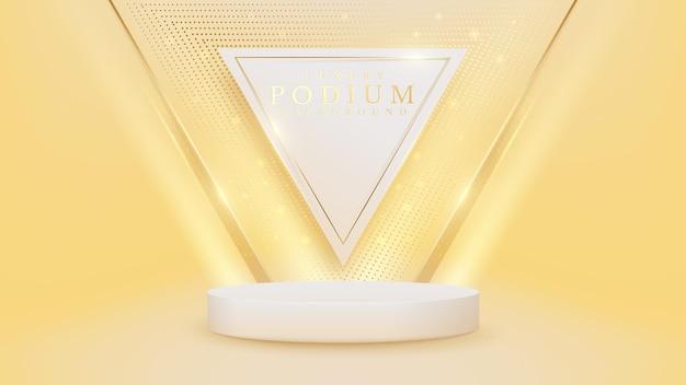 Realistische witte showpodiumscène met gouden driehoekslijn en fonkelende glinsterende lichteffectenelementen op de rug, luxe abstracte achtergrond.
