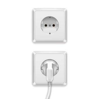 Realistische witte stekker en kunststof stopcontact europa type elektrisch.