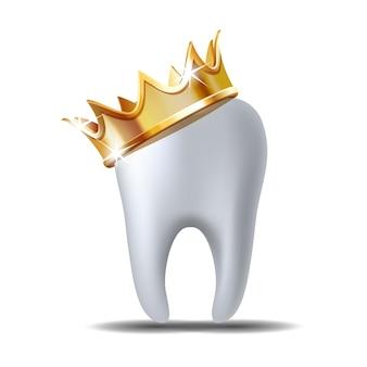 Realistische witte tand in gouden kroon geïsoleerd op wit