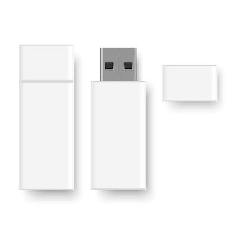 Realistische witte usb-flashdisk met dop.