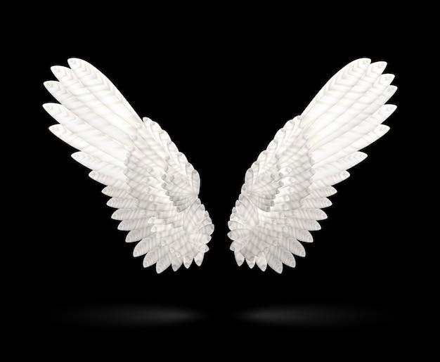 Realistische witte vleugels