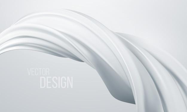 Realistische witte wervelingsvorm geïsoleerd. vloeibaar abstract modern ontwerp