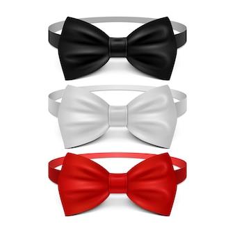 Realistische witte, zwarte en rode vlinderdasreeks. vlinderdas voor ceremonie, klassiek kledingstukstropdas