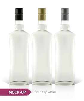 Realistische wodkafles of andere ginfles. op een witte achtergrond met schaduw en reflectie.