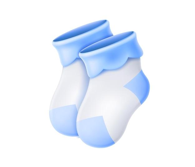 Realistische wollen babysokjes. blauwe pasgeboren jongens sokken voor verjaardagsfeestje, wenskaart.
