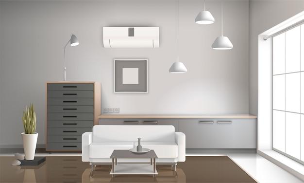 Realistische woonkamer interieur 3d-ontwerp