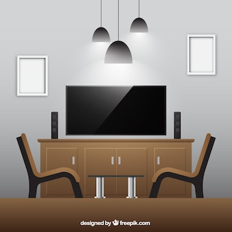 Realistische woonkamer met houten meubilair