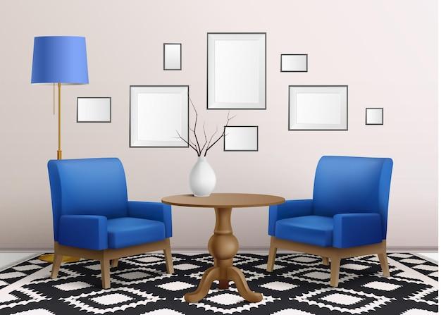 Realistische woonkamer met meubelillustratie