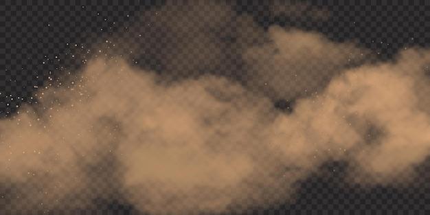 Realistische zandwolk met stenen en vuil, stoffige vuile smog