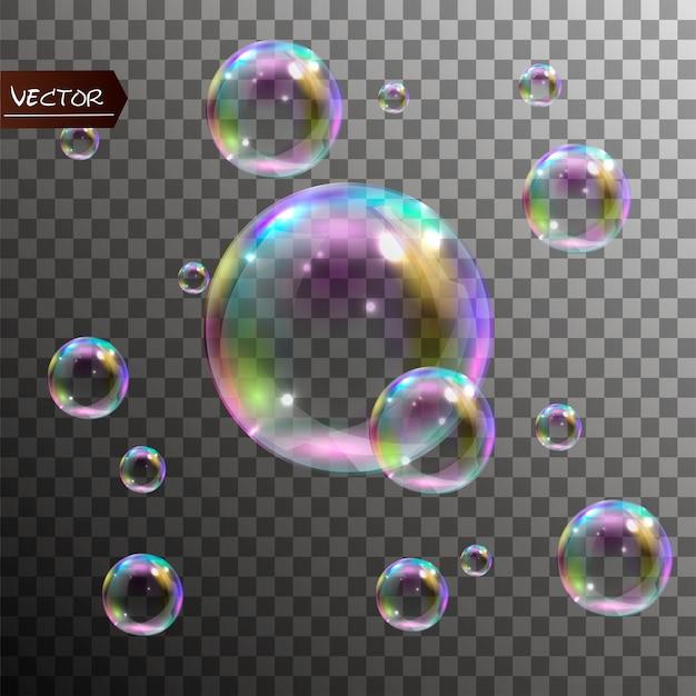 Realistische zeepbellen met regenboogbezinning.