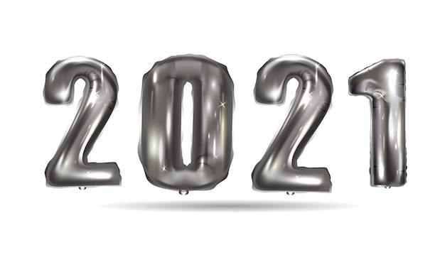Realistische zilveren ballonnen nieuwjaar. achtergrondontwerp metalen nummers datum