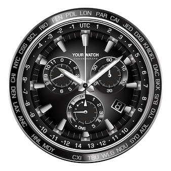 Realistische zilveren zwarte stalen klok horloge chronograaf gezicht op witte achtergrond design luxe voor mannen.