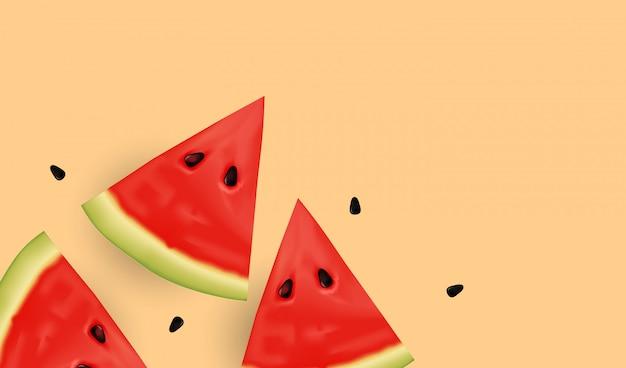Realistische zoetwatermeloenplakken en zaden.