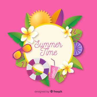 Realistische zomer achtergrond met elementen
