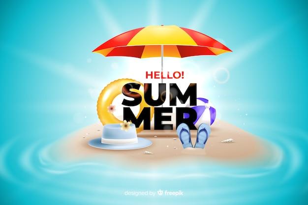 Realistische zomer elementen op de achtergrond van een strand