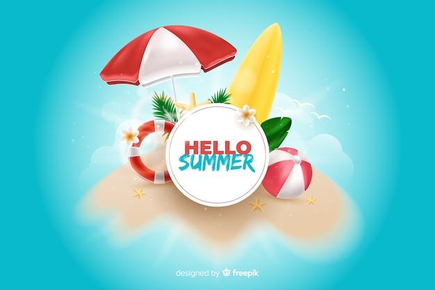Realistische zomer elementen rond teken achtergrond