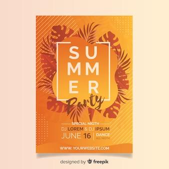 Realistische zomer flyer sjabloon voor feestjes