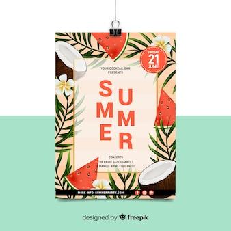 Realistische zomer partij poster sjabloon