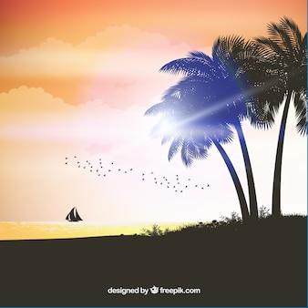 Realistische zomer zonsondergang met palm silhouetten