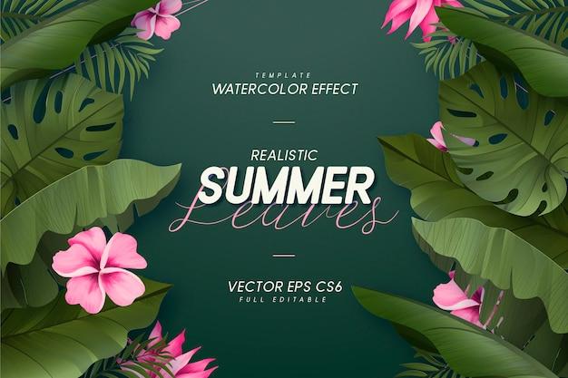 Realistische zomerbladeren banner achtergrond