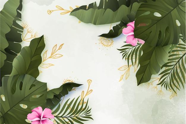 Realistische zomerbloemenbanner met waterverfachtergrond