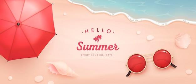 Realistische zomerelementen op een strand