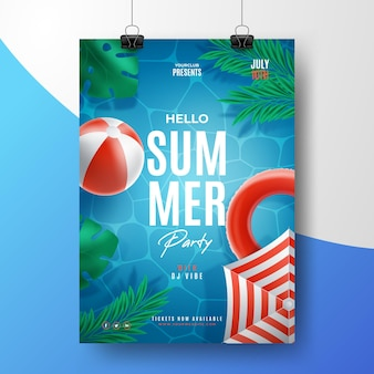 Realistische zomerfeest poster sjabloon