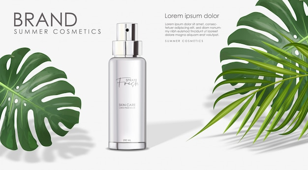 Realistische zomerfles geïsoleerde container, fris parfum elegant ontwerp, verpakking met palmblad