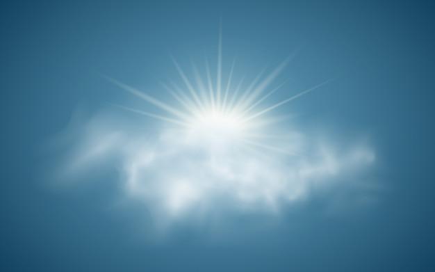 Realistische zon met wolken.