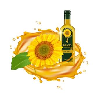 Realistische zonnebloemolie. oliedruppels en gele bloem met groen blad. glazen fles en zonnebloem. laat olie zonnebloem vallen, golf organische illustratie