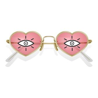 Realistische zonnebril met gekleurde monturen in de vorm van harten