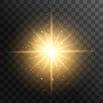 Realistische zonnestralen. gele de straalsamenvatting van de zonstraal glanst lichteffect starburst zonstraal zonneschijn geïsoleerd gloeien.