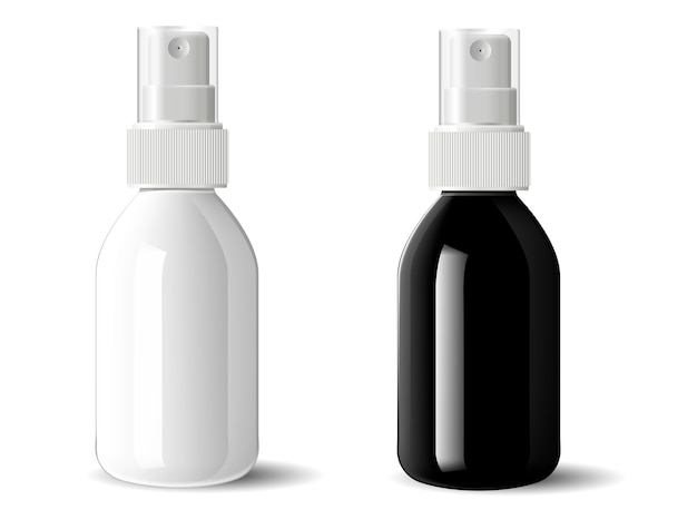 Realistische zwart-witte glazen plastic flessen Premium Vector