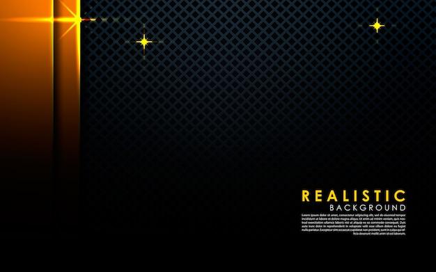 Realistische zwarte achtergrond met gouden laag